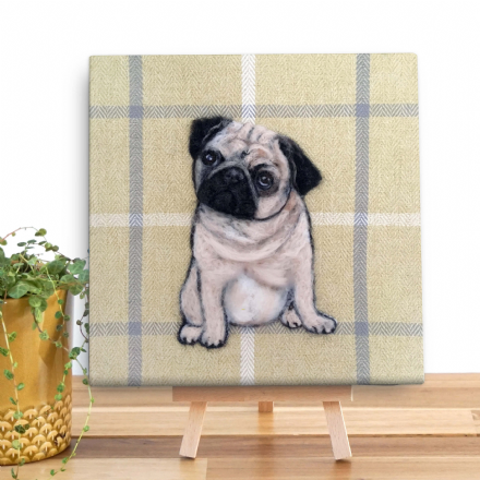 Pug Mini Wooden Canvas by Sharon Salt